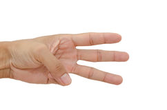 Three fingers. Isolated on the white Stock Photography