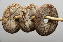 Three finnish round rye bread. On a neutral background Royalty Free Stock Images