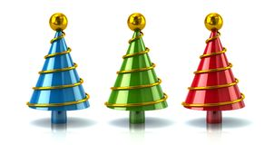 Three fir Christmas tree set with gold ball on top. 3d illustration isolated on white background Stock Photo