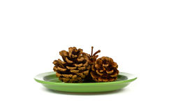 Three fir cones on a green plate Royalty Free Stock Photo