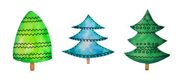 Three fir watercolor with pattern. Isolated on white Stock Photography