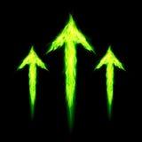 Three fire arrows. Three green fire arrows directed upward. Illustration on black background Stock Image