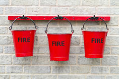 Three Fire Buckets Royalty Free Stock Photography