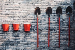 Three fire buckets and shovels Royalty Free Stock Images