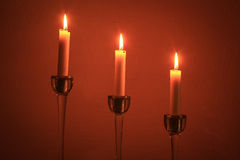 Three fire candles Stock Images
