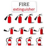 Three fire extinguishers. Painted in four ways: one filling, with a black stroke and color and 3D images Royalty Free Stock Photography