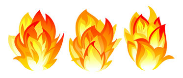 Three fire icon. Three simple fire icon on white background Royalty Free Stock Photography