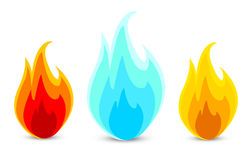 Three fire icons in vector. Three fire icons in a  on a white Stock Images