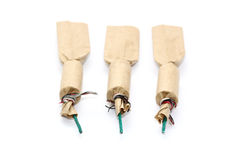 Three firecrackers on white royalty free stock photography