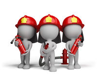 Three firefighter with the fire extinguishers. Three firefighter with a extinguishers and a water cannon. 3d image. White background Stock Photos