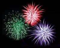 Three Fireworks stock photo