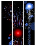 Three fireworks banners Stock Photos