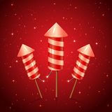 Three fireworks rocket. On red starry background, illustration Stock Photo