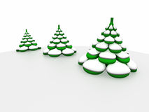 Three firs in snow. Three-dimensional model of a toy. Three fur-trees under snow Stock Photography