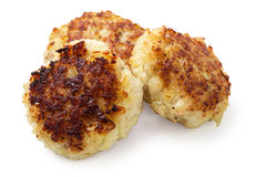 Three fish cakes. From cod  on white Royalty Free Stock Photos