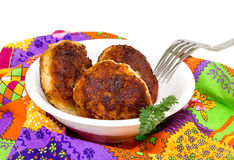Three fish cakes Stock Images