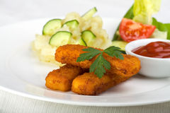 Three fish fingers Stock Photography