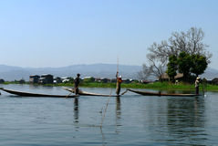 Three Fishermen. Inle Lake Myanmar (Burma royalty free stock photos