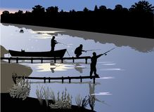 Three fishermen near river Stock Photography