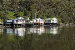 Three Fishermens Cottages. On the Georges River Sydney. Copyspace stock image