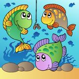 Three fishes and fishing hook Stock Images