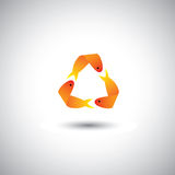 Three fishes swimming forming recycle symbol Royalty Free Stock Photo