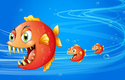 Three fishes under the water vector illustration
