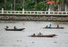 Three Fishing Boats on the Chao Phraya River Stock Images