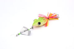 Three Fishing lure top water shallow and deep water. Fishing lure buzz bait green frog for top and fresh water on white background royalty free stock image