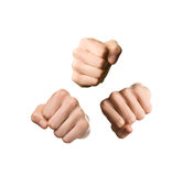 Three Fists on White Background Royalty Free Stock Photography