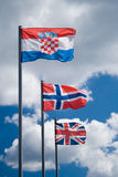 Three flags stock images