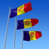 Three flags of Andorra against blue sky. 3d il Royalty Free Stock Photos