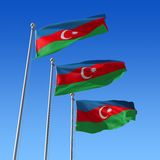 Three flags of Azerbaijan against blue sky. 3d ill Stock Photo