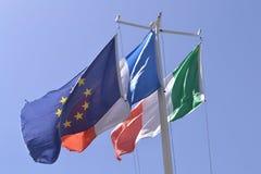 Three flags on the border Stock Photo