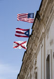 Three flags of Castillo San Cristobal Royalty Free Stock Photography