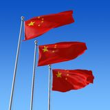 Three flags of China against blue sky. 3d illustra Stock Photography