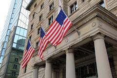 Three flags at entrance of Fairmont hotel,2014 Stock Photo