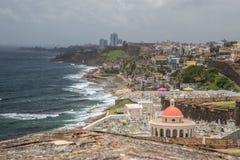 Three Flags Over San Juan. View of Old San Juan from Castle San Felipe del Morro in Old San Juan, Puerto RIco stock images