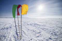 Three flags in winter landscape Royalty Free Stock Image