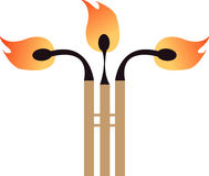 Three flames. Match standing up for illustration Royalty Free Stock Photos