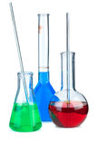 Three flasks with different chemical agents Stock Image