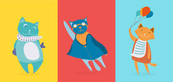 Three flat cute cats Royalty Free Stock Images