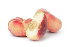 Three flat fig peaches Royalty Free Stock Photos