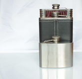 Three flat flask for alcohol Royalty Free Stock Photo