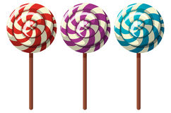 Three flavors of lollipops. Illustration Royalty Free Stock Images