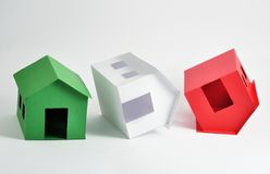 Three flipped houses Stock Photos