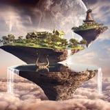 Three floating islands Stock Photo