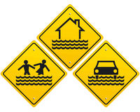 Three flood warning sign Stock Photo