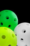 Three floorball balls isolated Royalty Free Stock Image