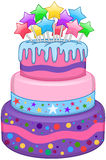 Three Floors Cake With Stars Royalty Free Stock Images